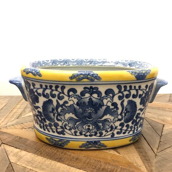 Asian Planter Blue Yellow Floral Porcelain